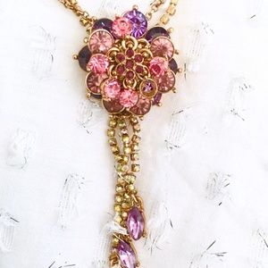 Betsey Johnson Flower Necklace Pink Crystals
